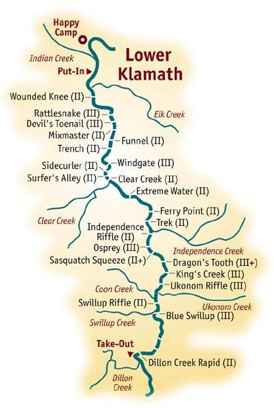 klamath river rafting map