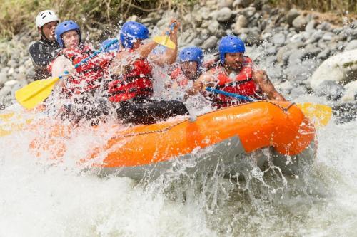 White,Water,Rafting,Team,In,Bright,Sunburst,Pastaza,River,Ecuador